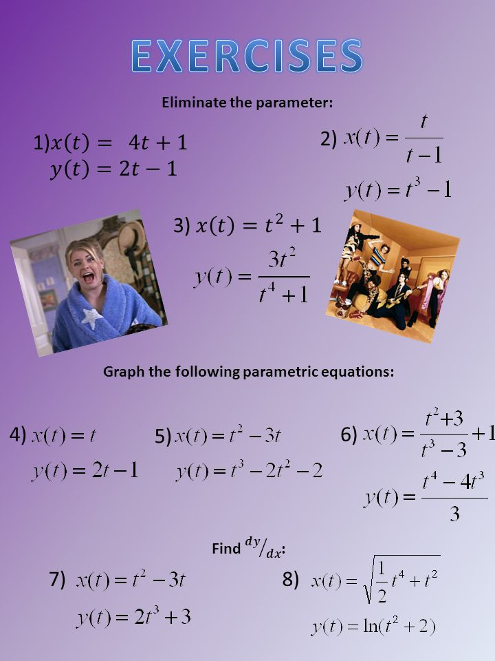 Eliminate the parameter: 2) Graph the following parametric equations: 4) 5) 6) 7)8)