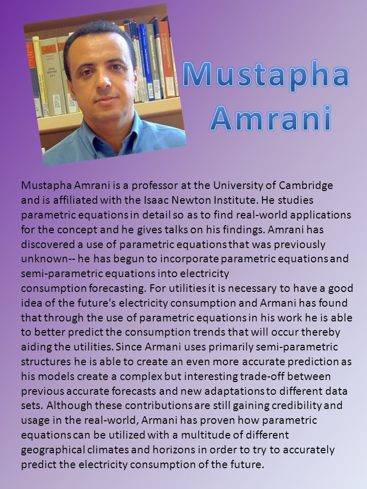 Mustapha Amrani is a professor at the University of Cambridge and is affiliated with the Isaac Newton Institute.