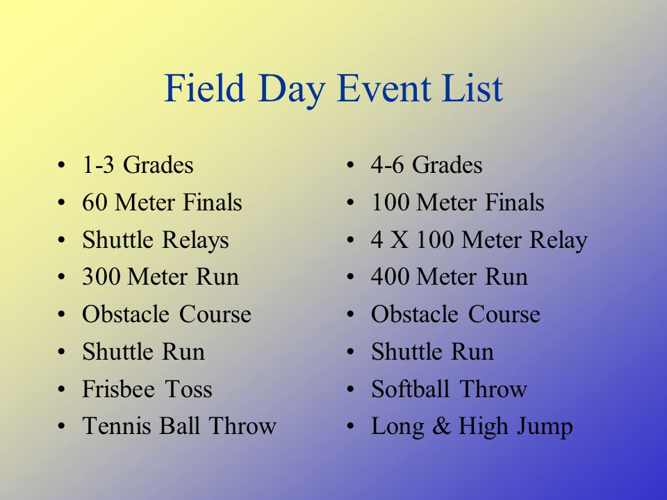 Field Day Event List 1-3 Grades 60 Meter Finals Shuttle Relays 300 Meter Run Obstacle Course Shuttle Run Frisbee Toss Tennis Ball Throw 4-6 Grades 100 Meter Finals 4 X 100 Meter Relay 400 Meter Run Obstacle Course Shuttle Run Softball Throw Long & High Jump