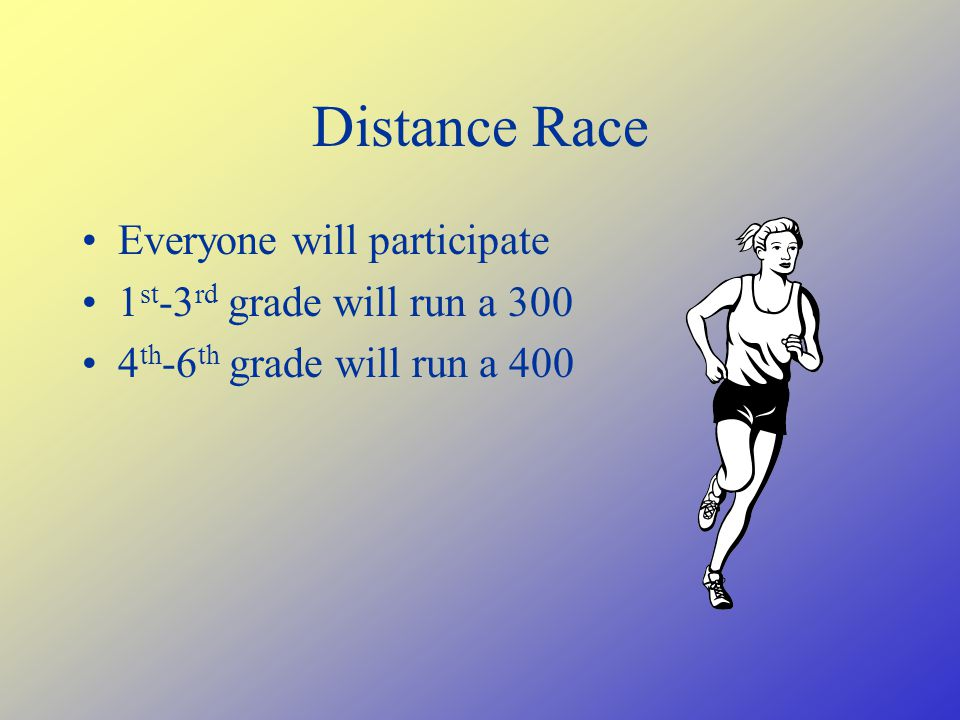 Distance Race Everyone will participate 1 st -3 rd grade will run a 300 4 th -6 th grade will run a 400