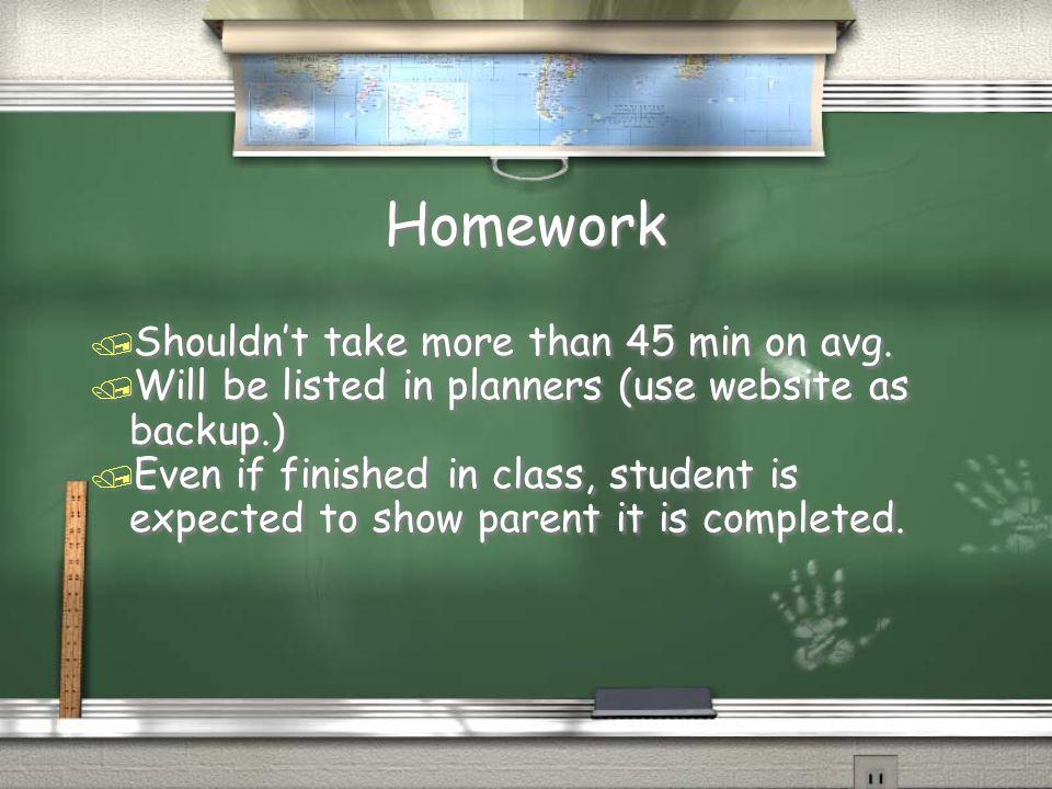 Homework Planner / Is a vital communication tool.