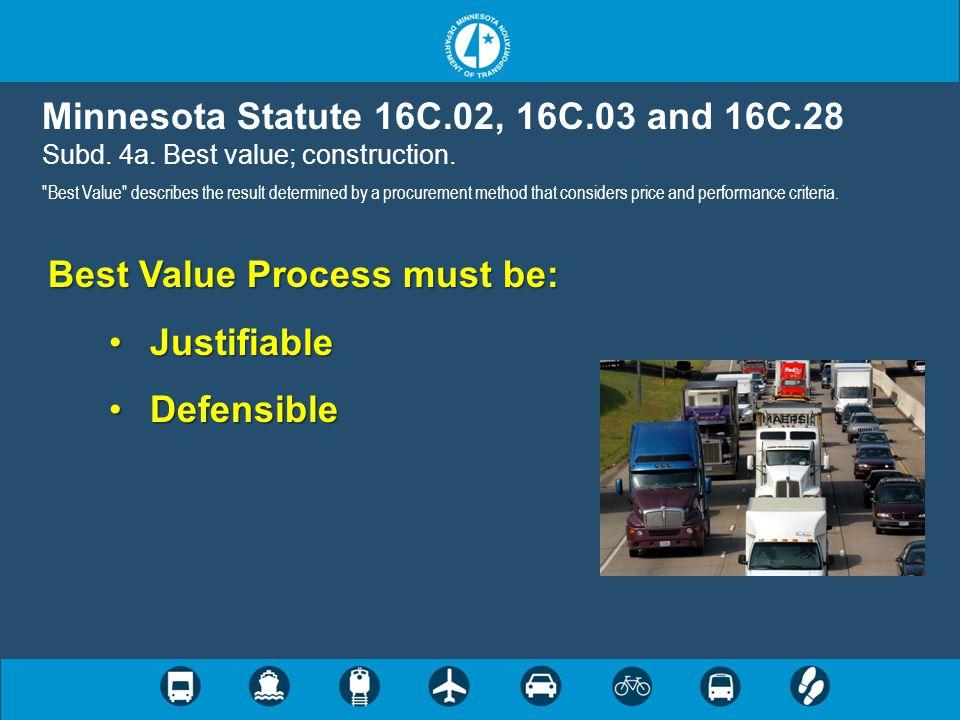 Minnesota Statute 16C.02, 16C.03 and 16C.28 Subd. 4a. Best value; construction.