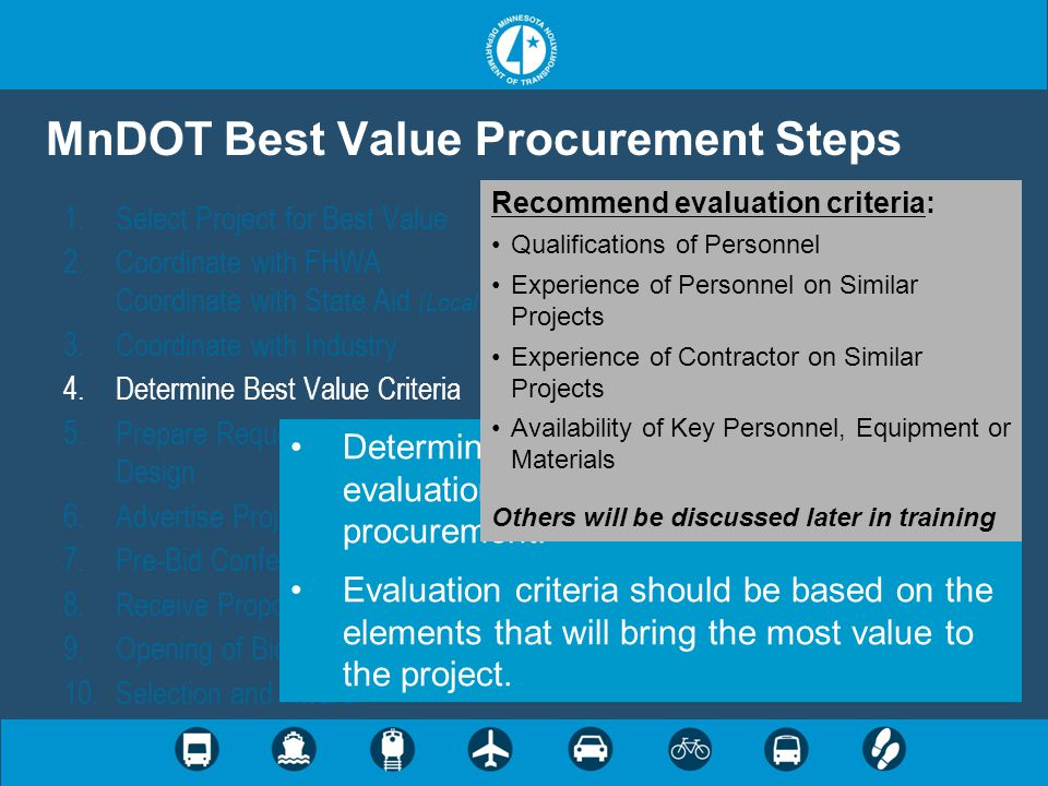 MnDOT Best Value Procurement Steps 1.Select Project for Best Value 2.Coordinate with FHWA Coordinate with State Aid (Local Governments) 3.Coordinate w