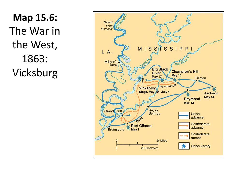 Map 15.6: The War in the West, 1863: Vicksburg