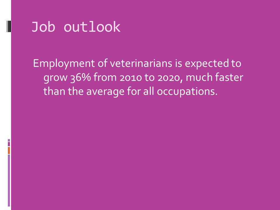Job outlook Employment of veterinarians is expected to grow 36% from 2010 to 2020, much faster than the average for all occupations.