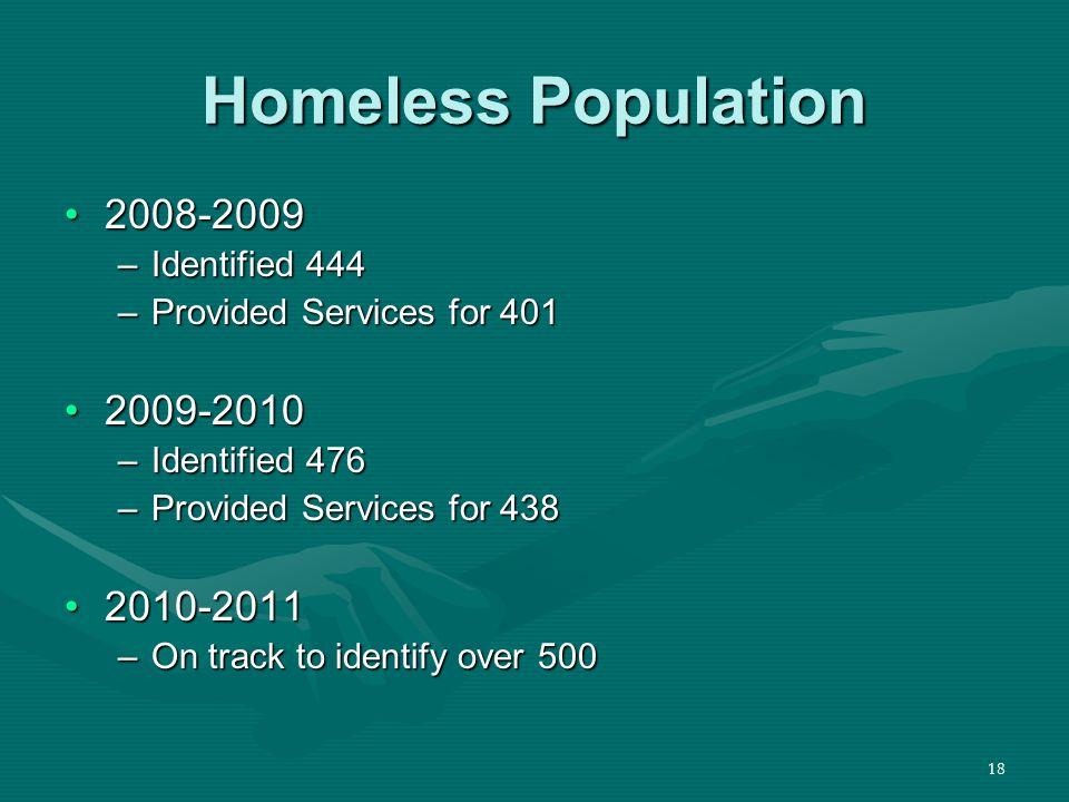 18 Homeless Population 2008-20092008-2009 –Identified 444 –Provided Services for 401 2009-20102009-2010 –Identified 476 –Provided Services for 438 2010-20112010-2011 –On track to identify over 500