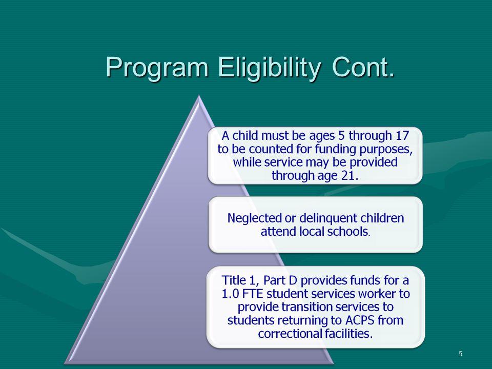 5 Program Eligibility Cont.