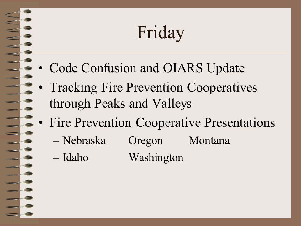 Friday Code Confusion and OIARS Update Tracking Fire Prevention Cooperatives through Peaks and Valleys Fire Prevention Cooperative Presentations –NebraskaOregonMontana –IdahoWashington