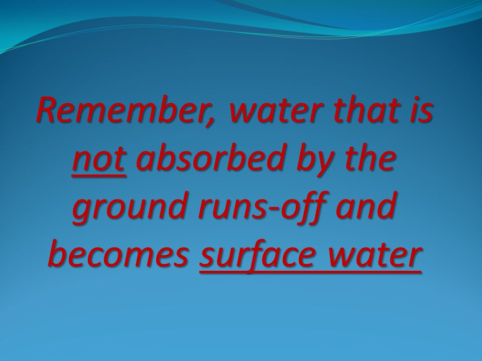 Runoff - water that flows over the land surface.