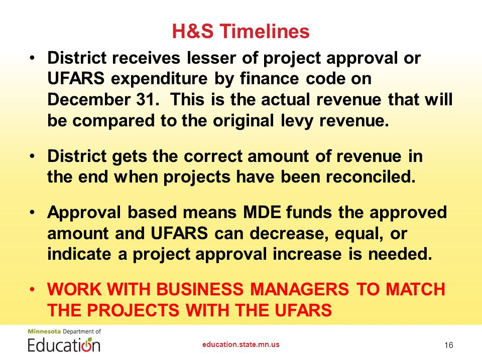 District receives lesser of project approval or UFARS expenditure by finance code on December 31.