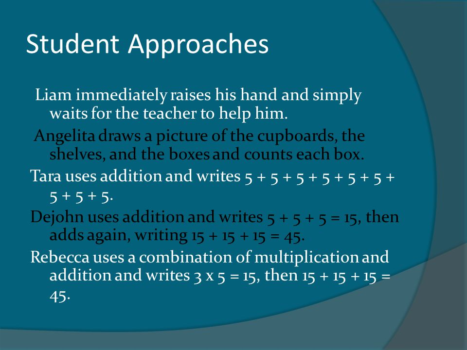 Parallel Tasks For example, if the Big Idea is Measurement, a set of Parallel Tasks might be as simple as letting students chose whether they are comfortable with linear or area measurements: Option 1An object has a length of 30 cm.