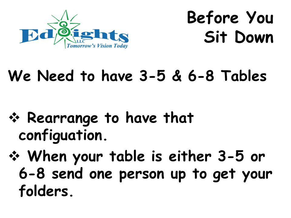 Before You Sit Down We Need to have 3-5 & 6-8 Tables  Rearrange to have that configuation.