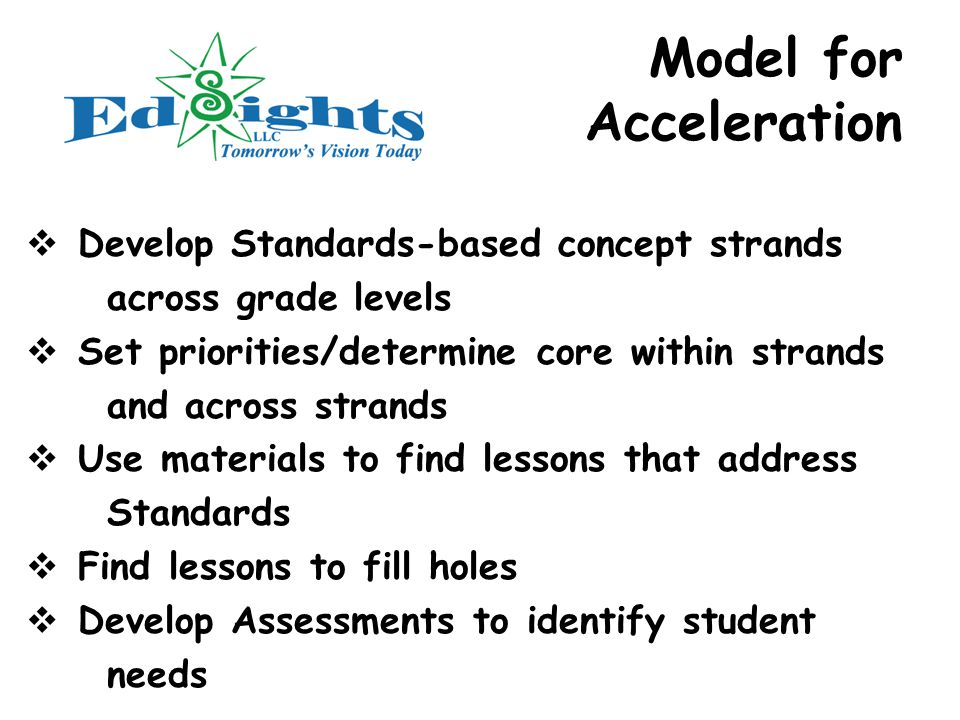 Model for Acceleration  Develop Standards-based concept strands across grade levels  Set priorities/determine core within strands and across strands  Use materials to find lessons that address Standards  Find lessons to fill holes  Develop Assessments to identify student needs