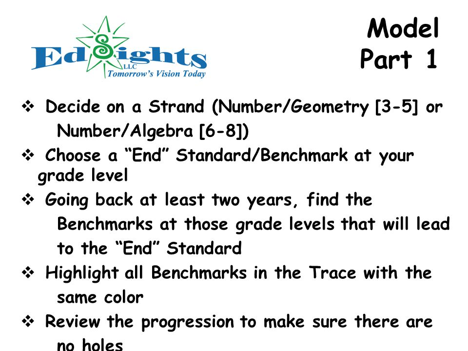 Model Part 1  Decide on a Strand (Number/Geometry [3-5] or Number/Algebra [6-8])  Choose a End Standard/Benchmark at your grade level  Going back at least two years, find the Benchmarks at those grade levels that will lead to the End Standard  Highlight all Benchmarks in the Trace with the same color  Review the progression to make sure there are no holes