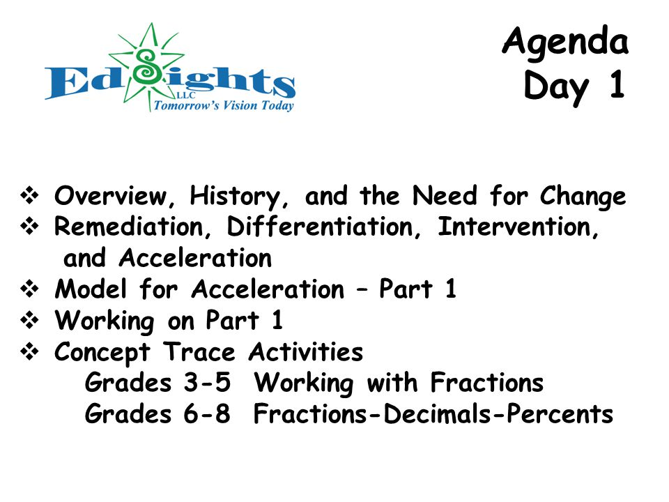 Agenda Day 1  Overview, History, and the Need for Change  Remediation, Differentiation, Intervention, and Acceleration  Model for Acceleration – Part 1  Working on Part 1  Concept Trace Activities Grades 3-5 Working with Fractions Grades 6-8 Fractions-Decimals-Percents