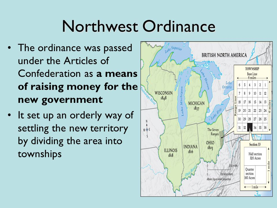 Northwest Ordinance The ordinance was passed under the Articles of Confederation as a means of raising money for the new government It set up an orderly way of settling the new territory by dividing the area into townships