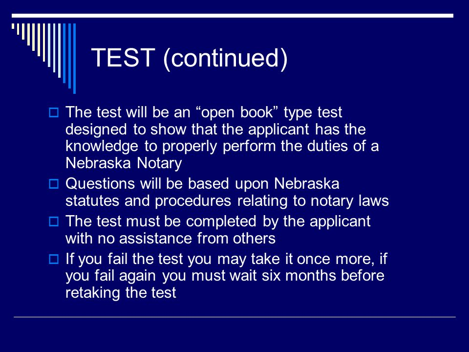 Application  The application form is available on our website or upon request from our office  You must be 19 years of age or over  You must not have been convicted of a felony or crime involving fraud or dishonesty  You must be a resident of the State of Nebraska (working in Nebraska, but living in another state does not meet statutory requirements for residency)  You must pass the test  You must submit the application fee ($30) and the bond ($15,000) with your application
