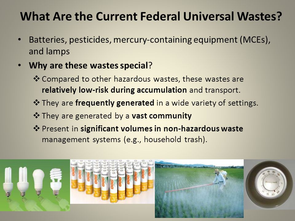 What Are the Current Federal Universal Wastes.
