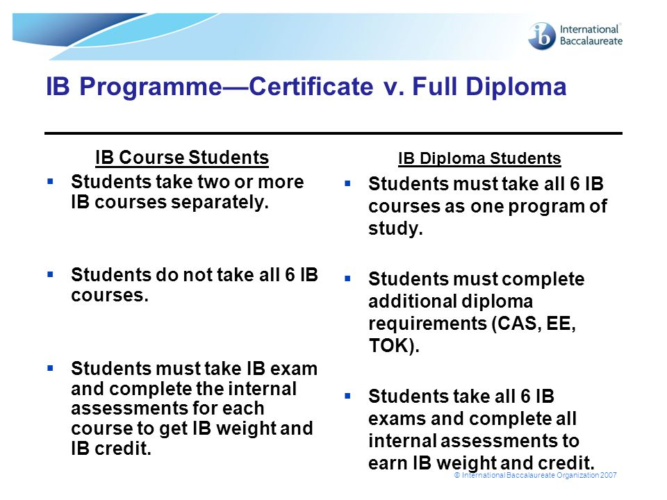 © International Baccalaureate Organization 2007 IB Programme—Certificate v. Full Diploma IB Course Students  Students take two or more IB courses sep