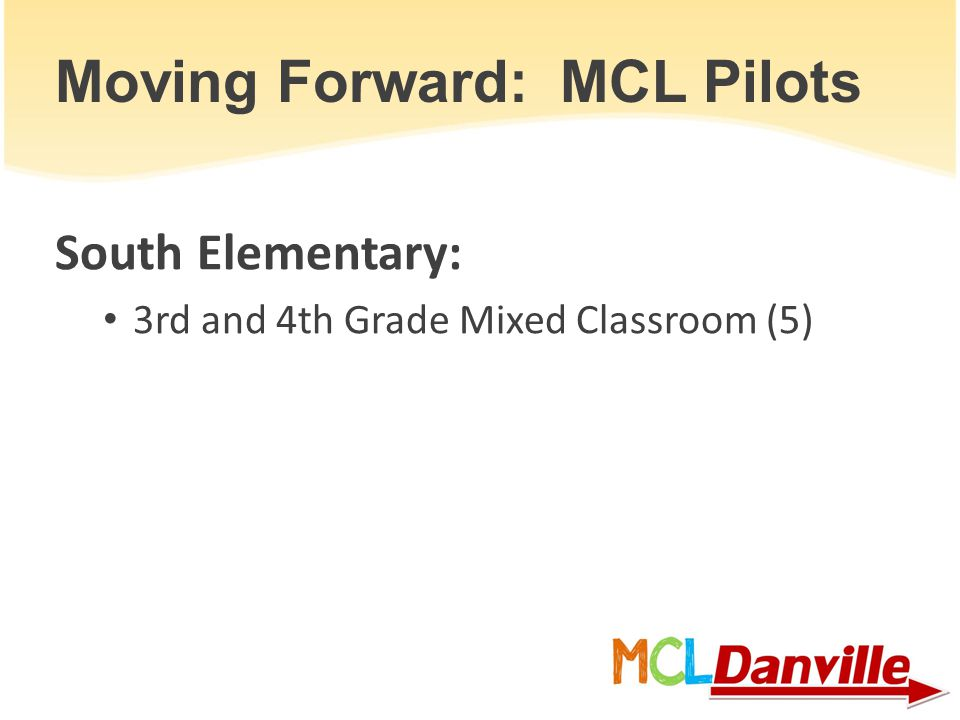 Moving Forward: MCL Pilots South Elementary: 3rd and 4th Grade Mixed Classroom (5)
