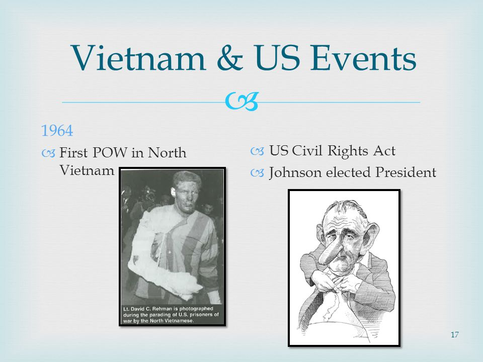  17 Vietnam & US Events 1964  First POW in North Vietnam  US Civil Rights Act  Johnson elected President