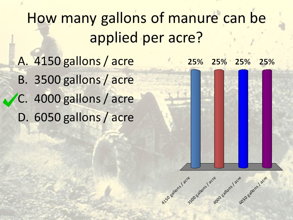 How many gallons of manure can be applied per acre? A.4150 gallons / acre B.3500 gallons / acre C.4000 gallons / acre D.6050 gallons / acre