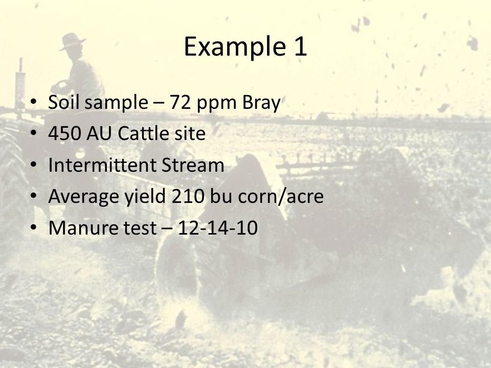 Example 1 Soil sample – 72 ppm Bray 450 AU Cattle site Intermittent Stream Average yield 210 bu corn/acre Manure test – 12-14-10