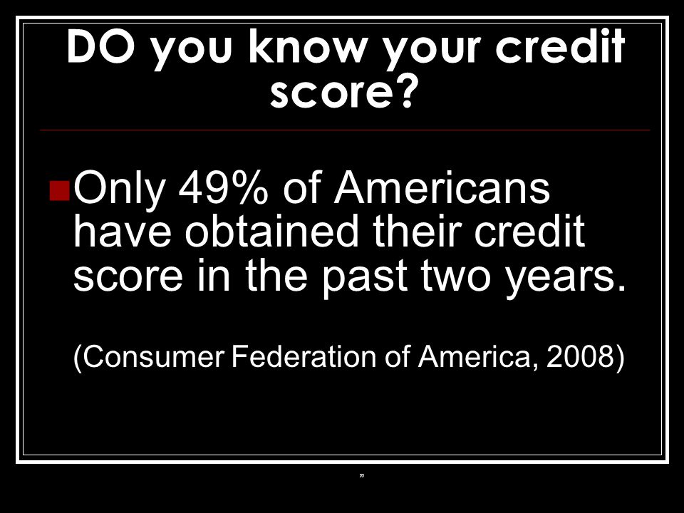 DO you know your credit score.