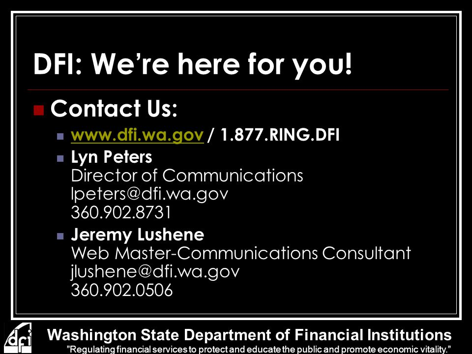 DFI: We're here for you.