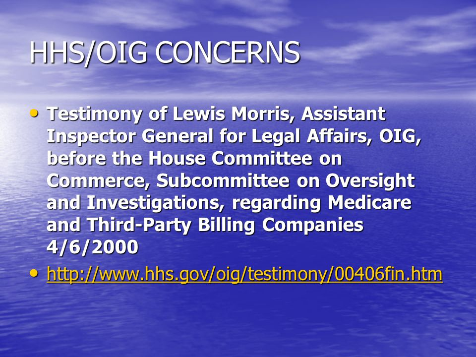 HHS/OIG CONCERNS Testimony of Lewis Morris, Assistant Inspector General for Legal Affairs, OIG, before the House Committee on Commerce, Subcommittee o