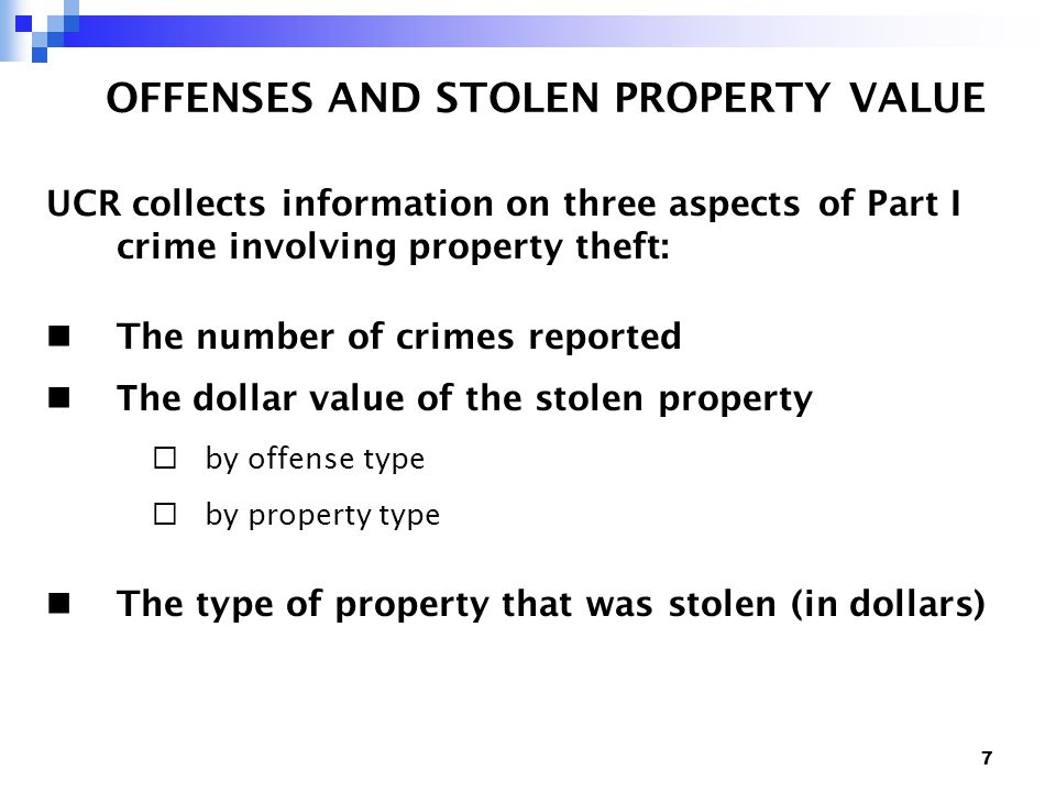 38 MOTOR VEHICLE THEFT Example 7.MOTOR VEHICLE THEFT A.