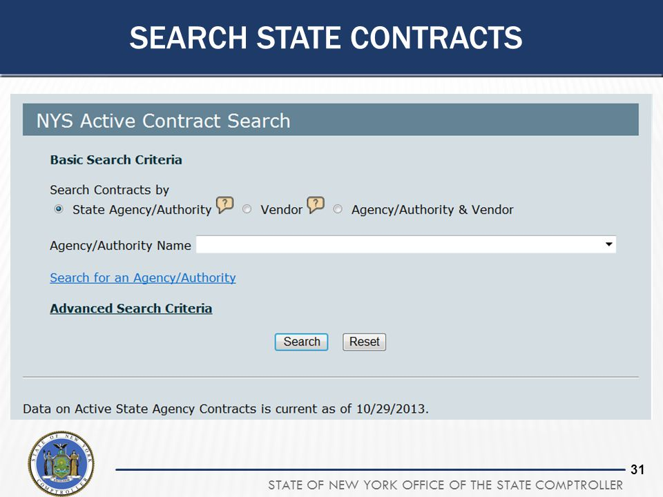 STATE OF NEW YORK OFFICE OF THE STATE COMPTROLLER 31 SEARCH STATE CONTRACTS