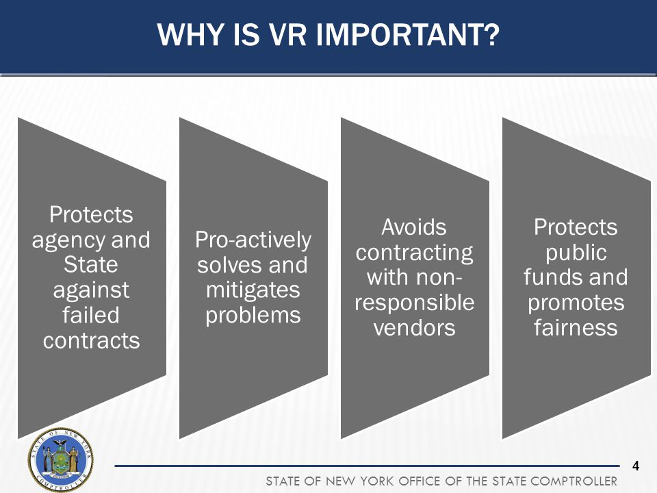 STATE OF NEW YORK OFFICE OF THE STATE COMPTROLLER 4 WHY IS VR IMPORTANT? Protects agency and State against failed contracts Pro-actively solves and mi