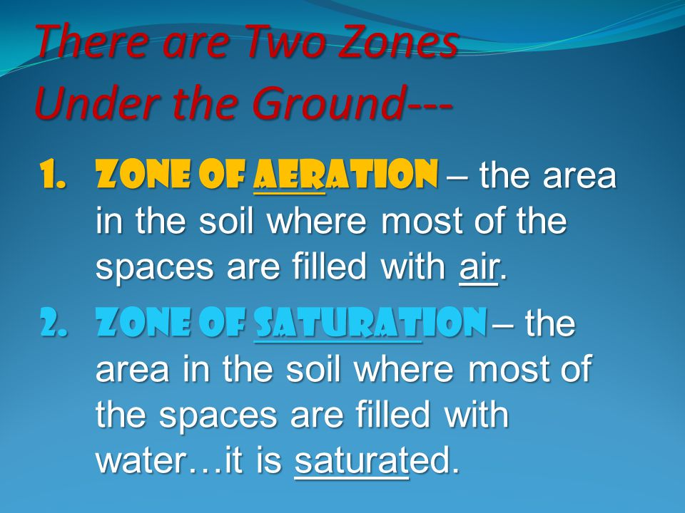 There are Two Zones Under the Ground--- 1.Zone of Aeration – the area in the soil where most of the spaces are filled with air. 2.Zone of saturation –