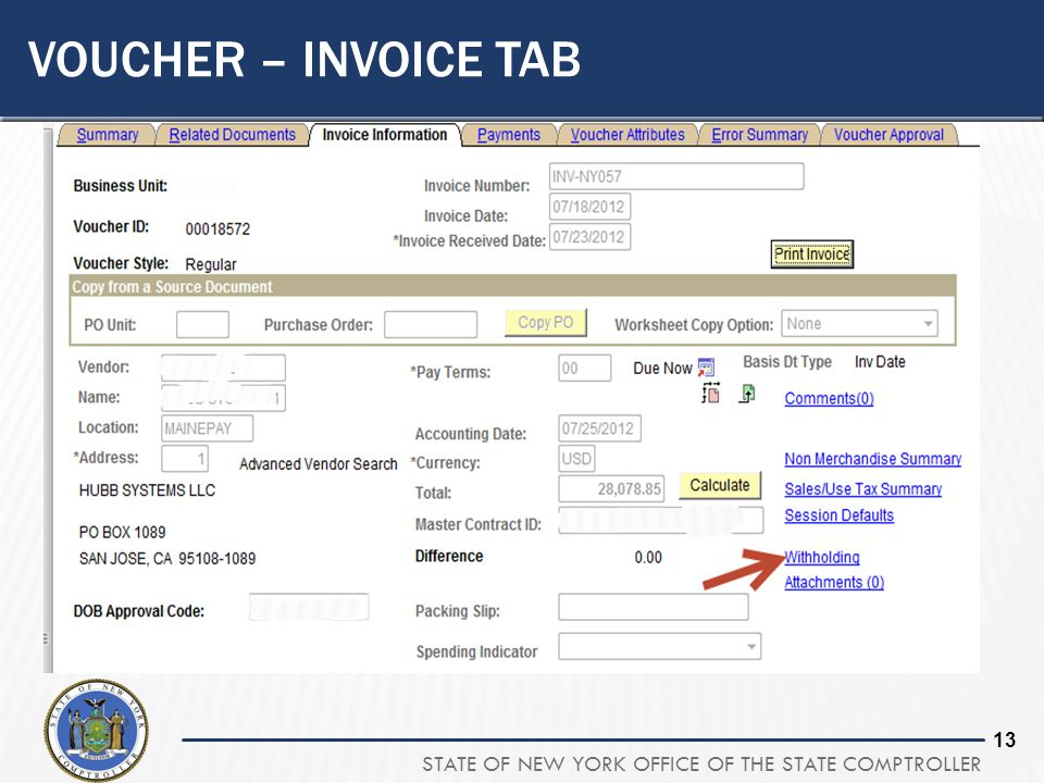 STATE OF NEW YORK OFFICE OF THE STATE COMPTROLLER 13 VOUCHER – INVOICE TAB