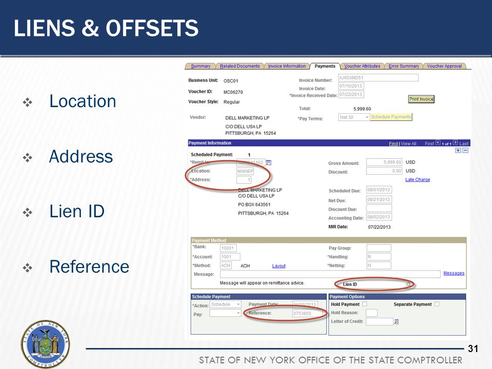 STATE OF NEW YORK OFFICE OF THE STATE COMPTROLLER 31 LIENS & OFFSETS  Location  Address  Lien ID  Reference
