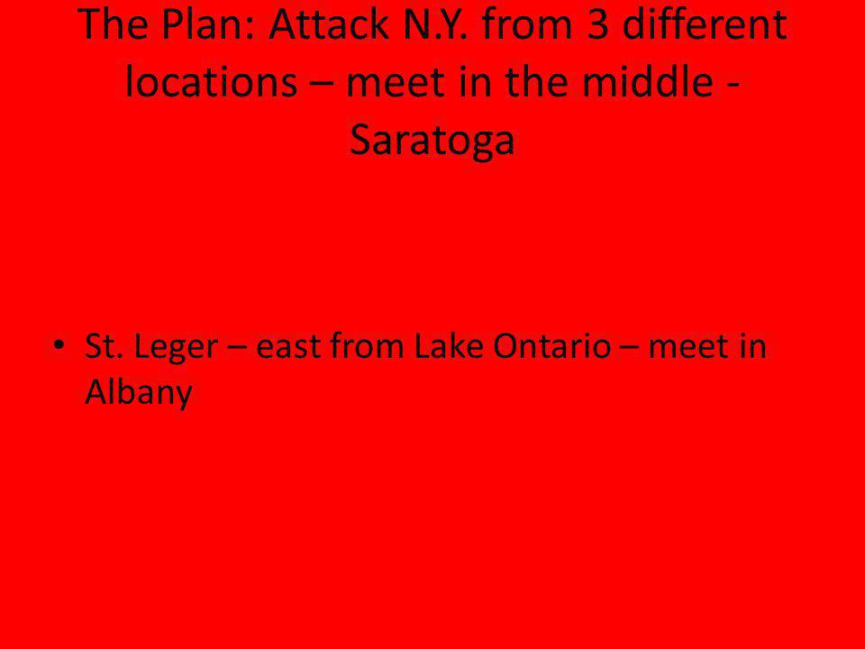 The Plan: Attack N.Y. from 3 different locations – meet in the middle - Saratoga St.