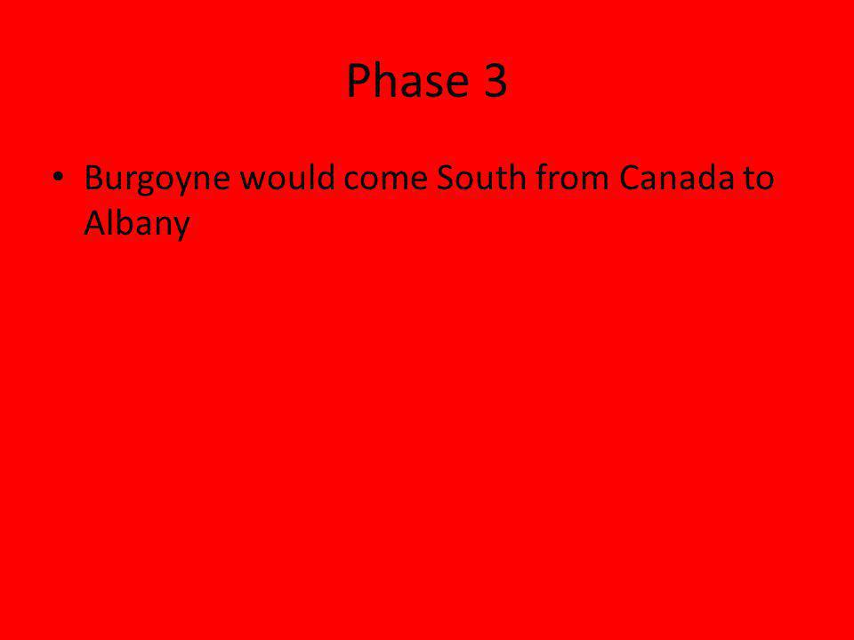 Phase 3 Burgoyne would come South from Canada to Albany