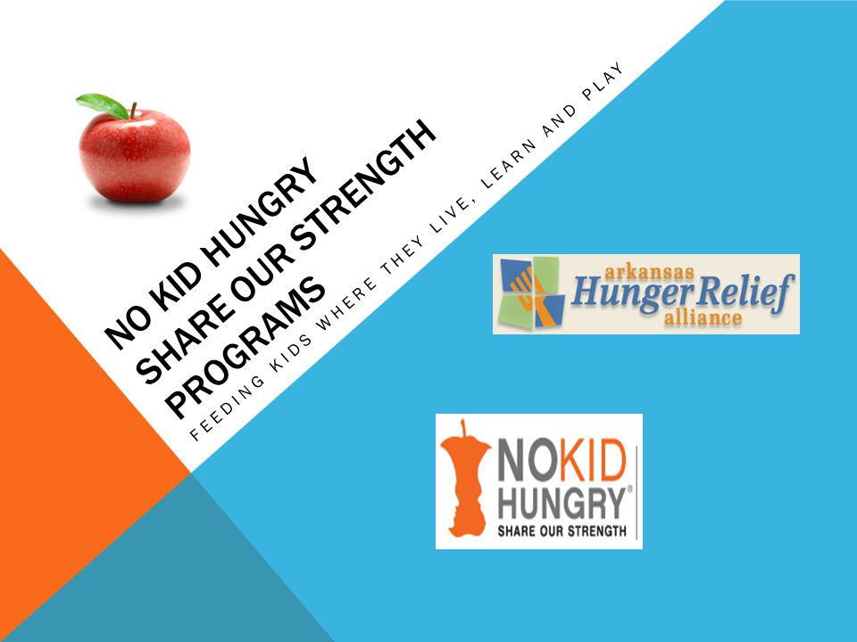 NO KID HUNGRY PROGRAMS *Alternate Breakfast Delivery *Out of School - (After School Snack/ Summer Feeding) *Cooking Matters /Cooking Matters at the Store Classes *SNAP Benefits (Supplement Nutrition Assistance Program) formerly called food stamps