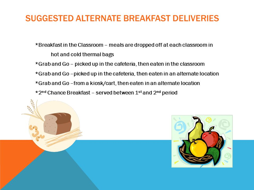 SUGGESTED ALTERNATE BREAKFAST DELIVERIES *Breakfast in the Classroom – meals are dropped off at each classroom in hot and cold thermal bags *Grab and Go – picked up in the cafeteria, then eaten in the classroom *Grab and Go –picked up in the cafeteria, then eaten in an alternate location *Grab and Go –from a kiosk/cart, then eaten in an alternate location *2 nd Chance Breakfast – served between 1 st and 2 nd period