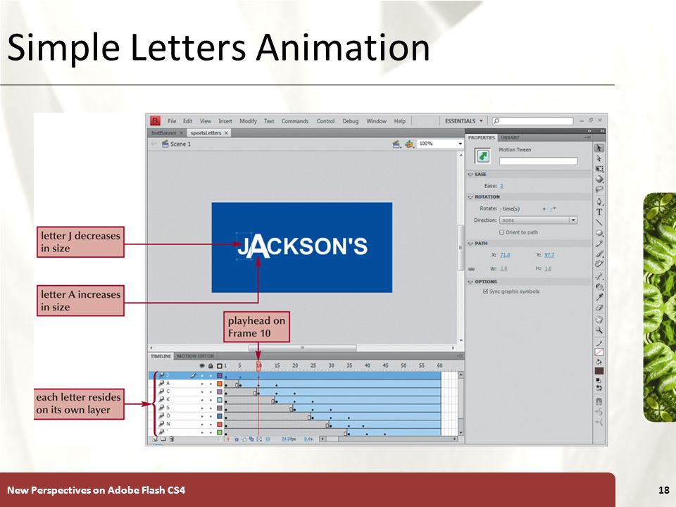 XP Simple Letters Animation New Perspectives on Adobe Flash CS418