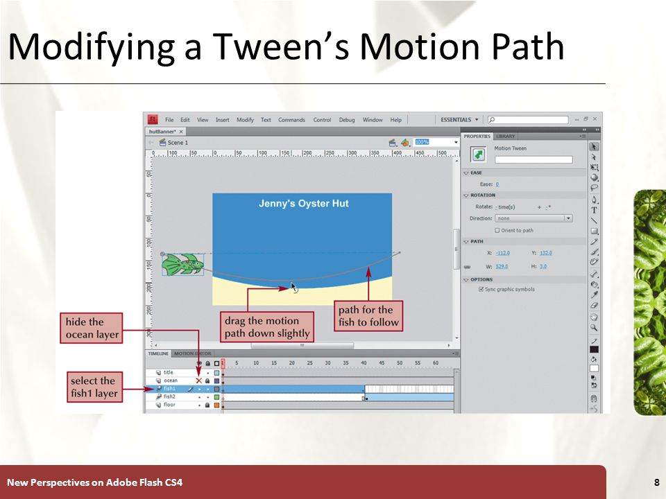 XP Modifying a Tween's Motion Path New Perspectives on Adobe Flash CS48