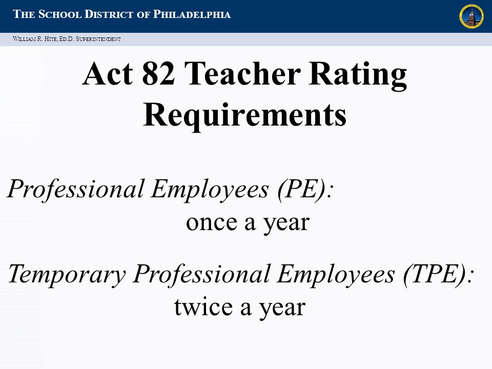 W ILLIAM R. H ITE, E D.D. S UPERINTENDENT T HE S CHOOL D ISTRICT OF P HILADELPHIA Act 82 Teacher Rating Requirements Professional Employees (PE): once
