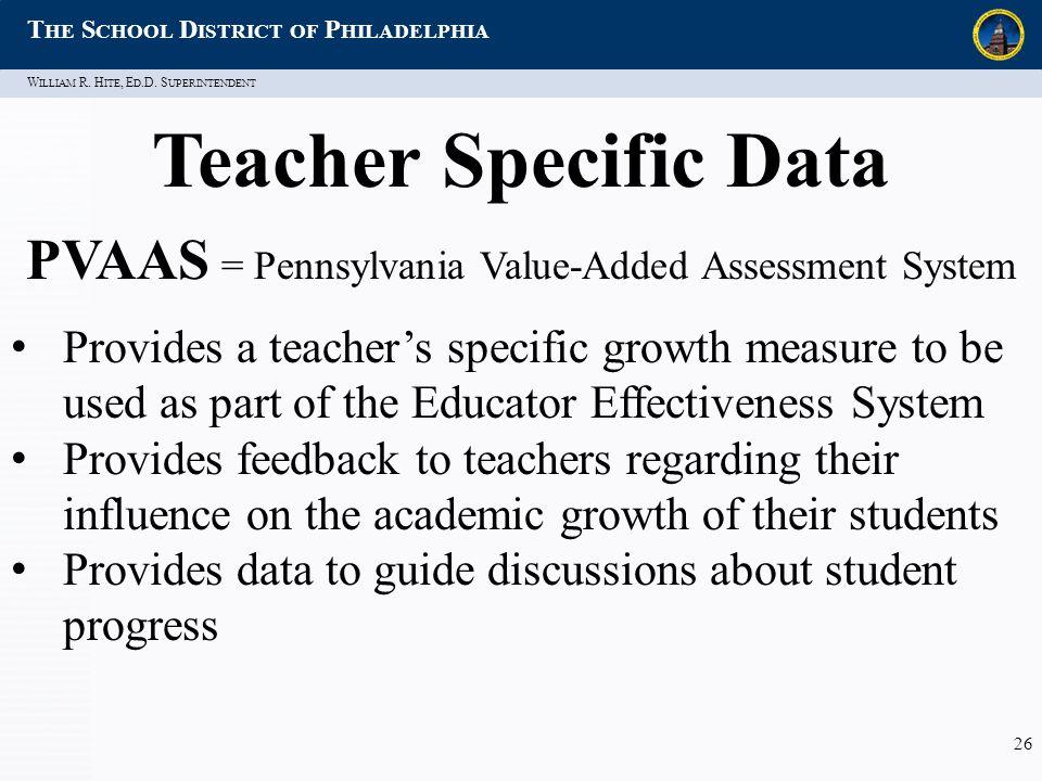 W ILLIAM R. H ITE, E D.D. S UPERINTENDENT T HE S CHOOL D ISTRICT OF P HILADELPHIA 26 Teacher Specific Data PVAAS = Pennsylvania Value-Added Assessment