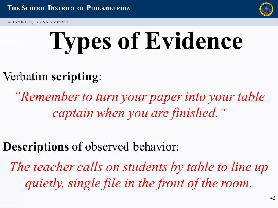 """W ILLIAM R. H ITE, E D.D. S UPERINTENDENT T HE S CHOOL D ISTRICT OF P HILADELPHIA 45 Types of Evidence Verbatim scripting: """"Remember to turn your pape"""