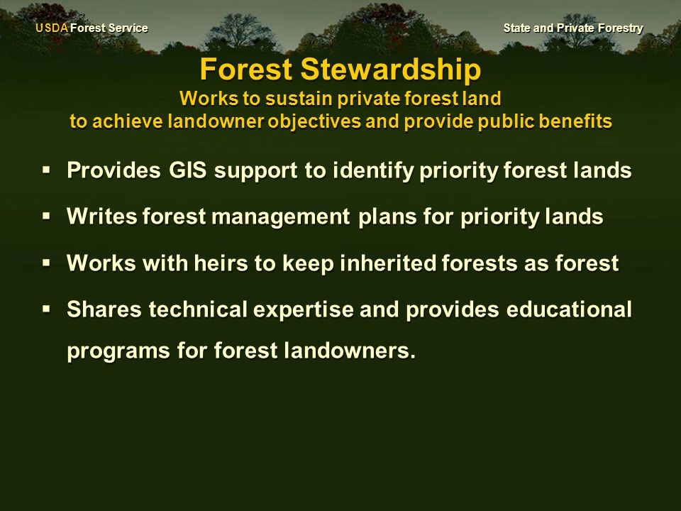 USDA Forest Service State and Private Forestry Forest Stewardship Works to sustain private forest land to achieve landowner objectives and provide public benefits  Provides GIS support to identify priority forest lands  Writes forest management plans for priority lands  Works with heirs to keep inherited forests as forest  Shares technical expertise and provides educational programs for forest landowners.