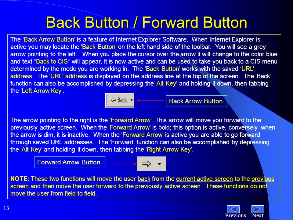 NextPrevious 13 Back Button / Forward Button The 'Back Arrow Button' is a feature of Internet Explorer Software.