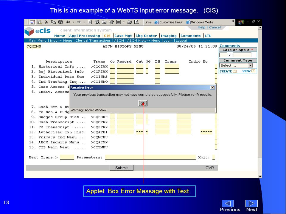 NextPrevious 18 This is an example of a WebTS input error message.