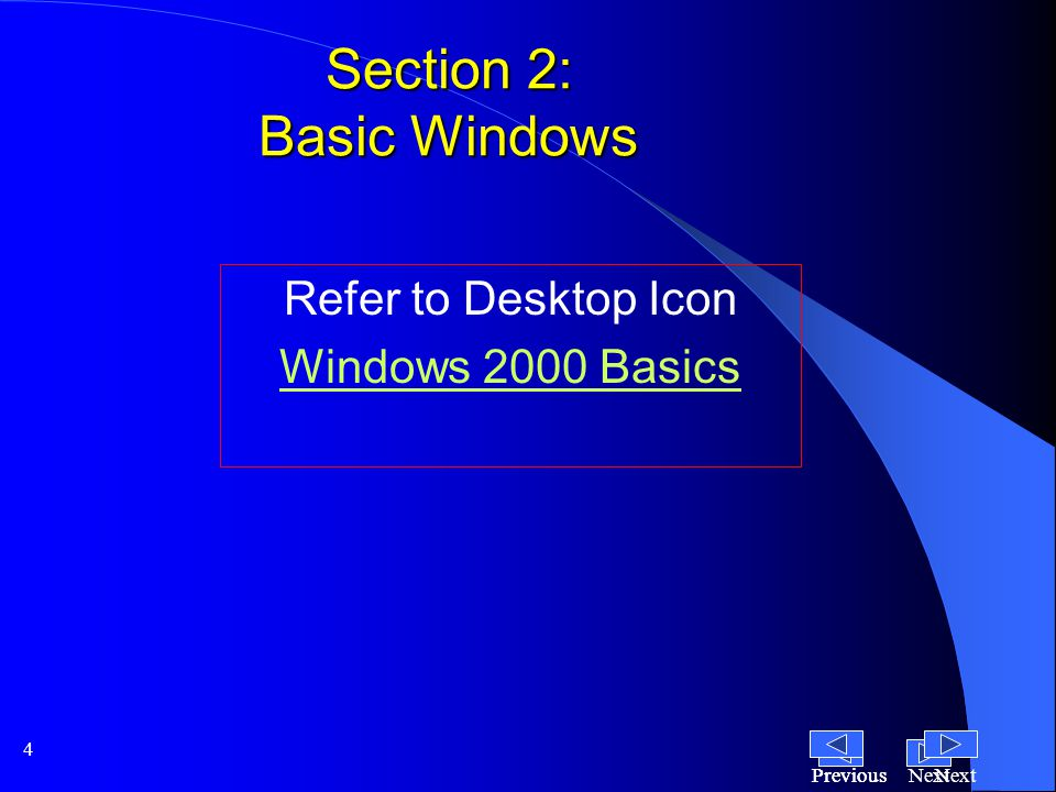 NextPrevious 4 Section 2: Basic Windows Refer to Desktop Icon Windows 2000 Basics NextPrevious