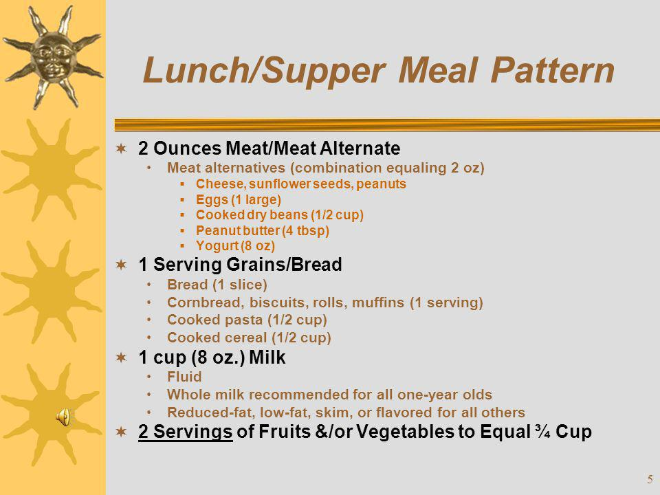 6 Snack Meal Pattern  Choose two of the four components.